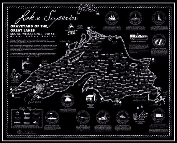 Shipwreck map of Lake Superior