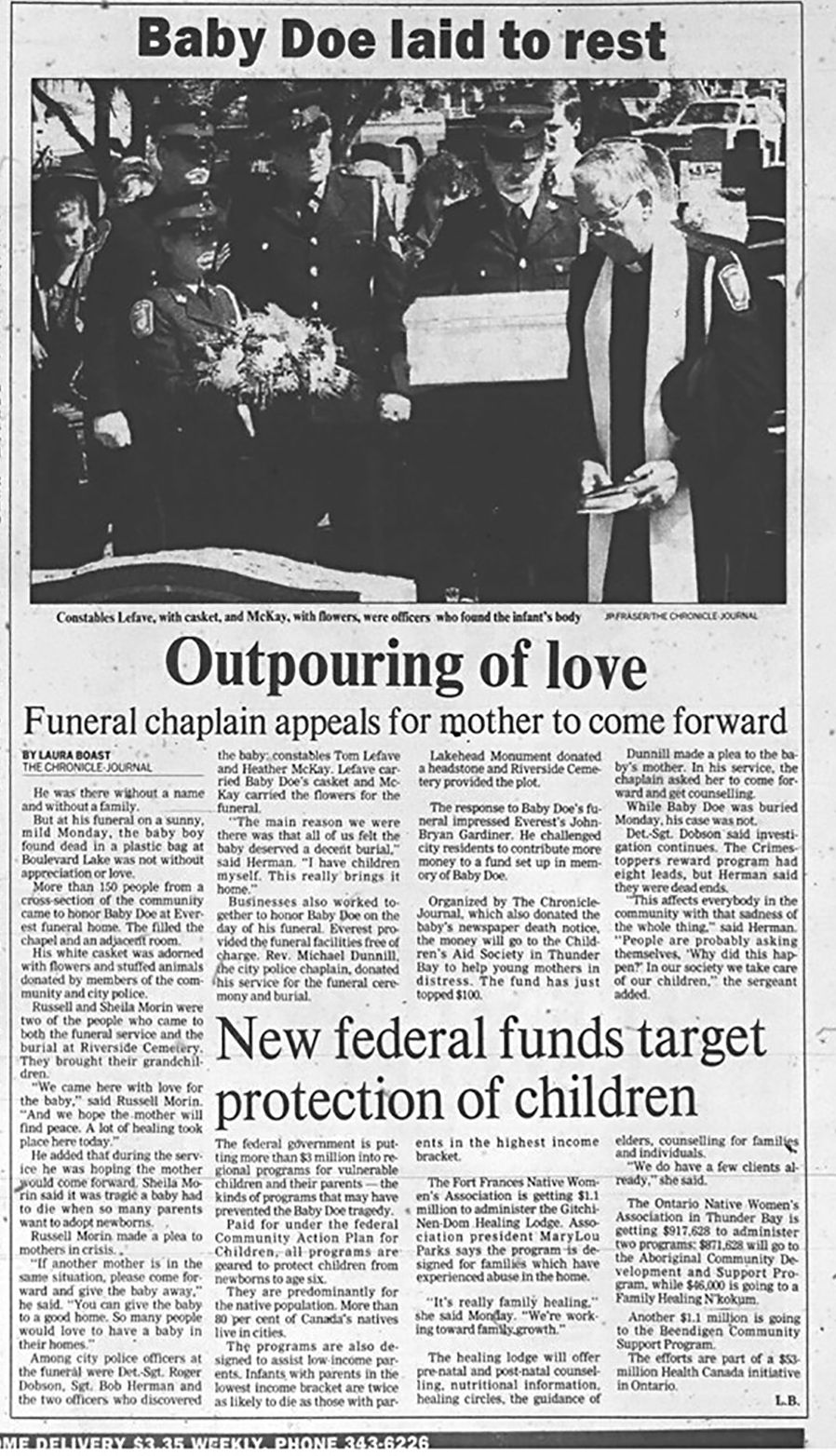 Press Clipping of funeral of Baby Doe   Lake Superior News