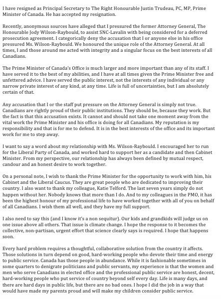 Gerald Butts Statement   Lake Superior News