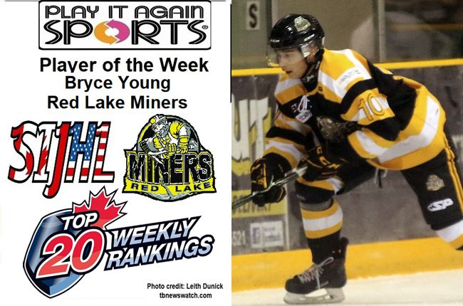SIJHL  Red Lake Miners forward Bryce Young  Lake Superior News